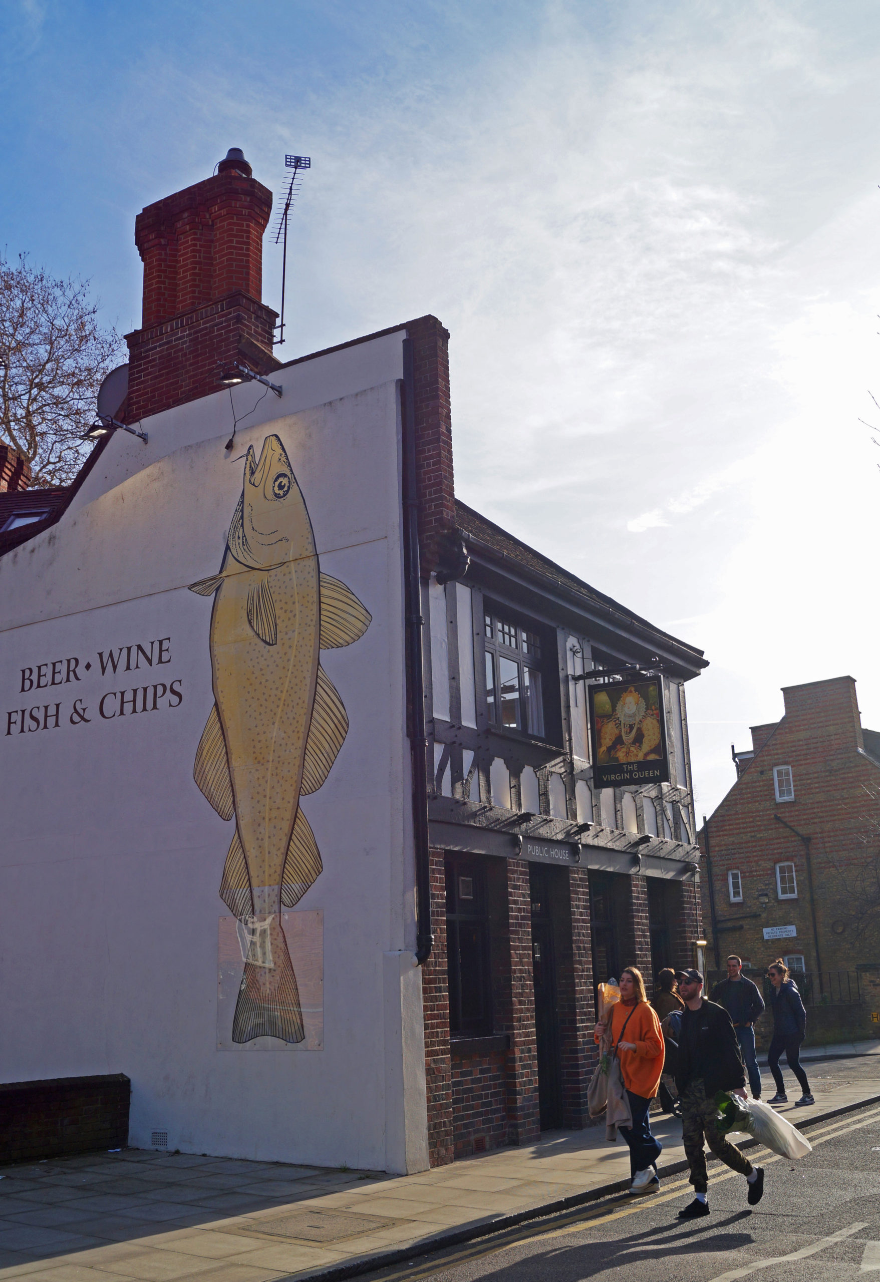 Our lovely fish mural at the side of the pub