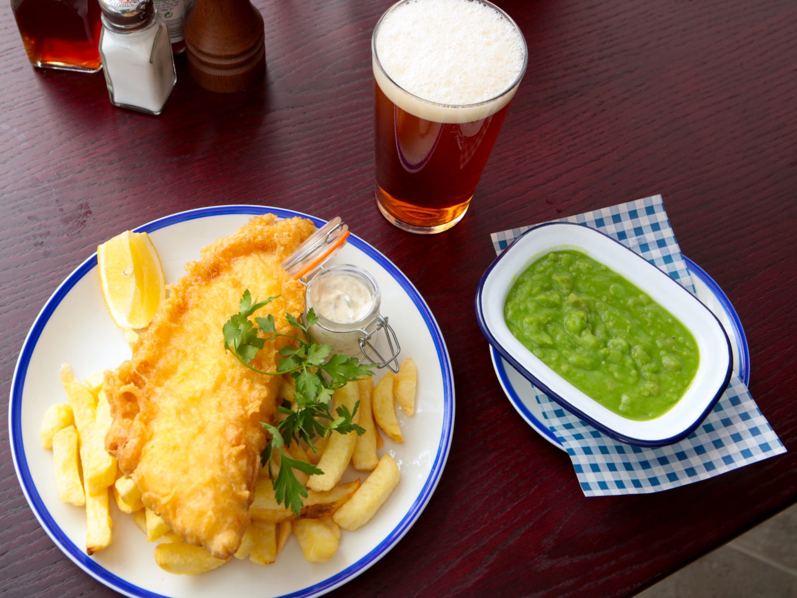 Our famous FISH HOUSE fish & chips with a fresh pint.
