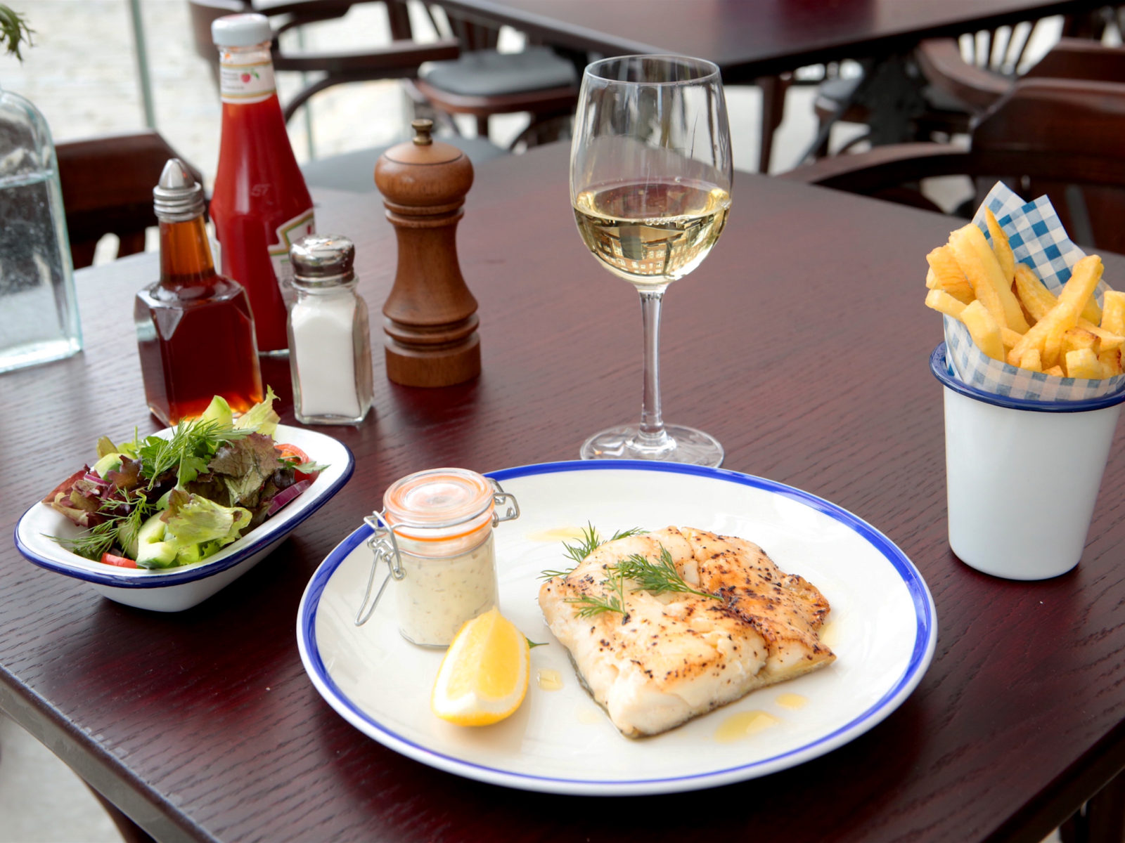 Delicious fish paired with one of our tasty whites.